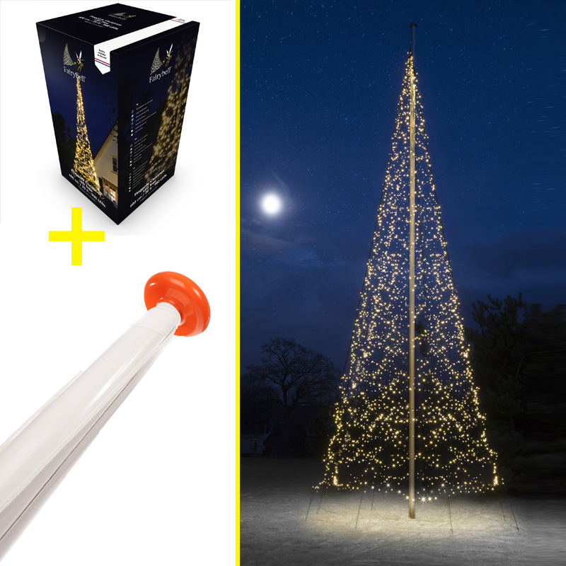 Vlaggenmast 8 Meter + Fairybell Kerstboom Verlichting