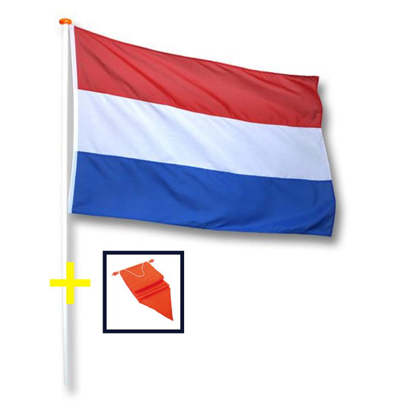 Nederlandse vlag met oranje wimpel